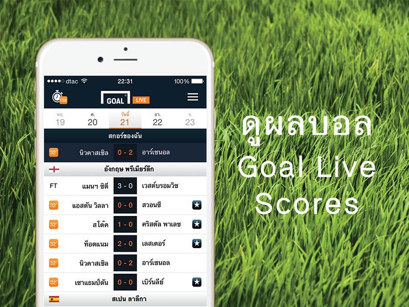 Goal Live Scores แอพดูผลบอลสดที่ดีที่สุด สำหรับ iPhone และ Android